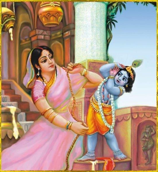 Mother Yasoda binding Krishna